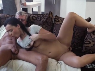 Raven-haired angel Erica Black gets old and sexual